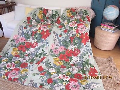 Vintage Pair of Gorgeous Floral Lined Drapes-green with  pink, red, gold, gray,