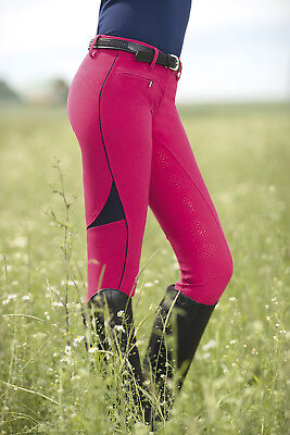 HKM PRO Team Riding Breeches - Neon Sports TEAM - Full Silicone Seat