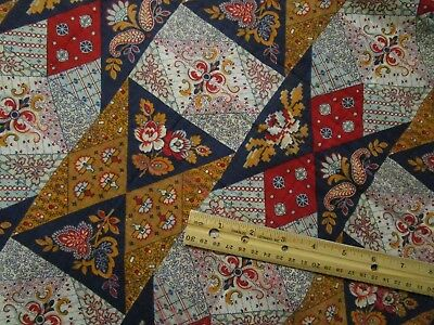 """Antique Fabric 1800's cheater cloth/Whole Quilt back-3 paneled 24"""" selvages"""