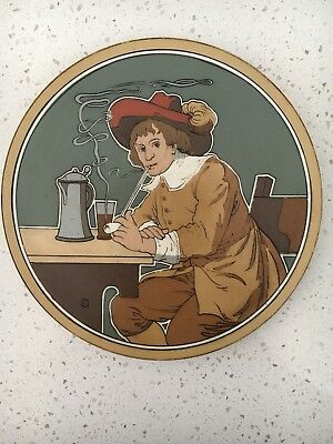 METTLACH PLAQUE 2624 Cavalier Smoking Pipe and Drinking