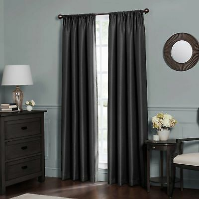 "Emery Total Blackout™ 63"",  1 Rod Pocket Insulated Curtain Panel - Black"