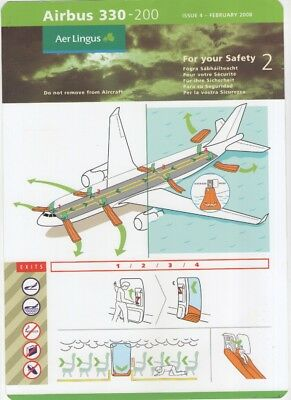 AER LINGUS   Airbus  A330-200   Safety Card   ( ISSUE 4  -  FEBRUARY 2008 )