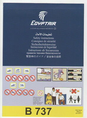 EGYPTAIR      Boeing 737    Safety Card     (  2nd Issue   Rev.0  Jun.2011   )