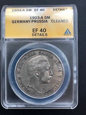 1903-A Germany-Prussia 5 Mark ANACS EF 40 Details German Empire Silver Coin