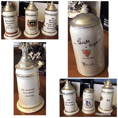 Lot of 9 Old German Military Steins US Army Battalion Infantry Regiments