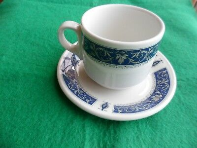 Coffee Cup and Saucer duos STEELITE BLUE MARINA Royal Doulton Vintage hotel ware