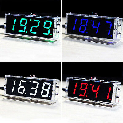 HOT DIY Digital LED Clock Kit 4-digit Light Control Electronic Clock Y/N voiceBH