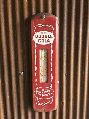 RARE RED & WHITE 1940's VINTAGE DOUBLE COLA SODA THERMOMETER TIN SIGN - **LOOK**