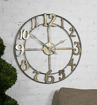 "New Large 32"" Antiqued Silver Hand Forged Metal Open Design Round Wall Clock"