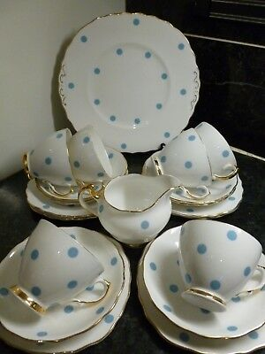 VINTAGE ROYAL VALE BLUE POLKA DOTS SPOTS CHINA c1950s 20 PIECE TEA SET WEDDING