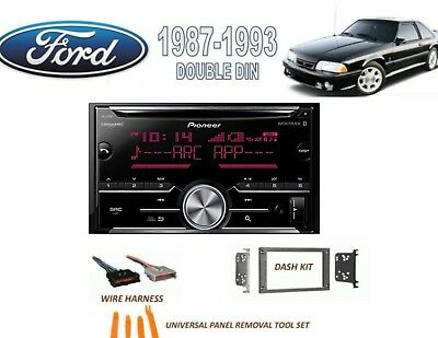 1987-1993 Ford Mustang Double Din Car Stereo Kit Bluetooth Sirius Xm Cd Usb