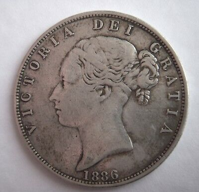 Great Britain 1/2 CROWN 1886 Silver