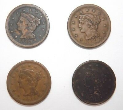 LOT of 4: US Large Cent Penny Coins  1848-1856 (T1004)