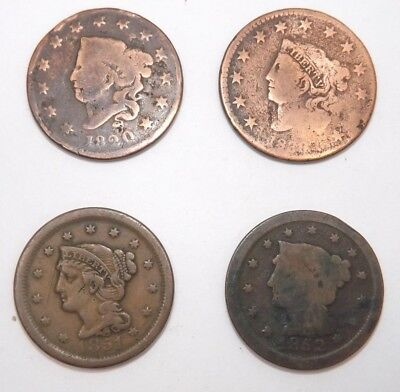 LOT of 4: US Large Cent Penny Coins 1820-1852 (T1006)