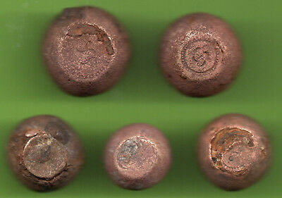ANCIENT VIKING BRONZE-IRON TRADER WEIGHT ca 10-12 century AD SET OF 5 pc. 381