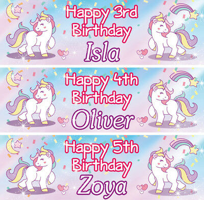 2 x personalised birthday banner Unicorn children nursery kid party decoration