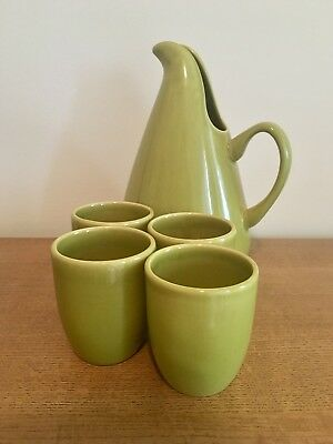 Russel Wright - Bauer Pottery - pitcher and 4 cups - green - new