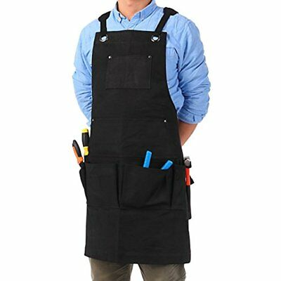 VEEYOO Waxed Canvas Utility Heavy Duty Apron Work With Tool Pockets, Adjustable