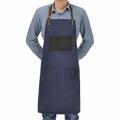 VEEYOO Heavy Duty Waxed Canvas Utility Apron With Pockets, Adjustable Shop For