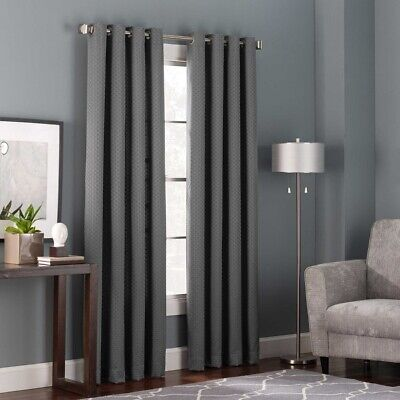 "Bianca 95"",  1 Grommet Window Curtain Panel - Charcoal"