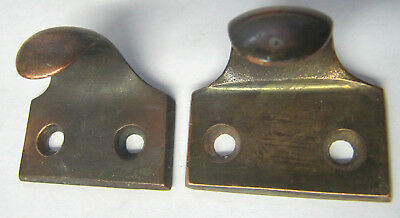 2 - Antique Heavy Solid Cast Brass Window Sash Lifts