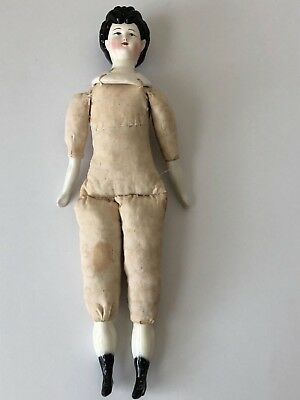 Antique Vintage Victorian Style Black Hair Porcelain China Doll Cloth body FERNE
