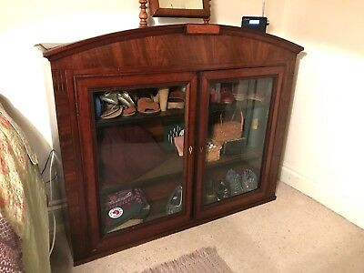 Antique Victorian Mahogany? Oak? Glass Fronted Bookcase Cupboard Shelving Unit