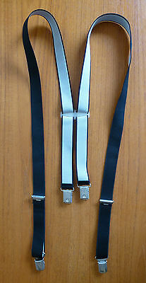 Mens Vintage Clip On Braces / Trousers Suspenders ~ Black 1in thick ~ Retro