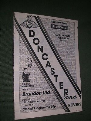DONCASTER ROVERS v BRANDON UTD. 1988-89 FA CUP