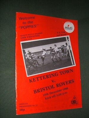 KETTERING TOWN v BRISTOL ROVERS. 1988-89 FA CUP