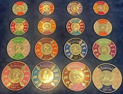 1965 Burundi Coin Stamps Complete Set of 16 - Free Shipping USA