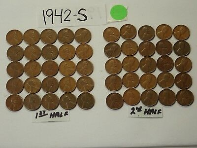 1942-S Solid Date Pennies=Roll 50 Lincoln Wheat Cents