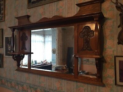 Antique Wooden Carved Overmantle Mirror