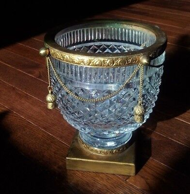 Vintage Crystal bowl vase candy bowl bonbon on pedestal w/ golden decor & charms