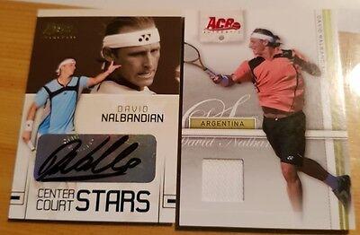 2-cards LOT David NALBANDIAN Ace Authentic CC-5 Autograph + White Jersey Tennis