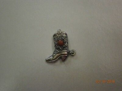 Vintage Silver Pewter Spurred Cowboy Boot with Red Stone Lapel / Hat Pin