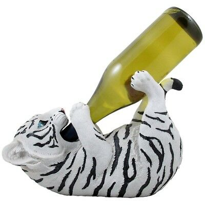 Drinking White Tiger Cub Wine Bottle Holder Sculpture in African Jungle Safari