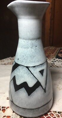Kinhanda Kenya Clay Pottery Handmade Geometric Pitcher Grey Black Signed Rare