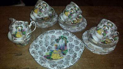 22 Piece Bone China Imperial Vintage 21K Gold Crinaling Ladys Tea Setg