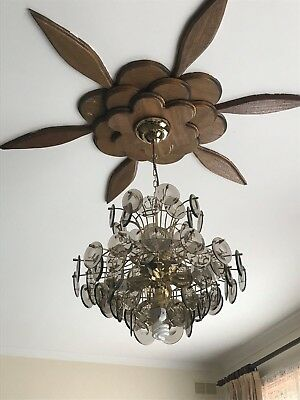 chandeliers X 2, brass and smoky glass disks