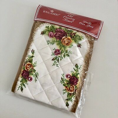Royal Albert Old Country Roses Double Oven Glove RARE Made In England