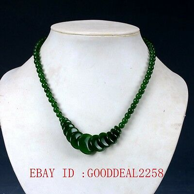 100% Natural Jade Hand-carved Bead Necklace XL041