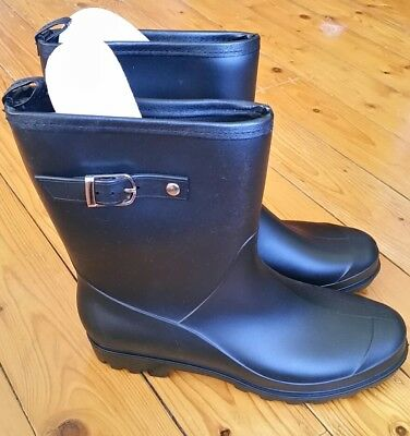 Aussie Gumboot buckle feature black rubber wellies rainboots womens 10 or 41