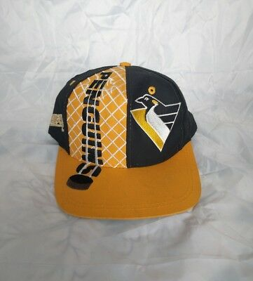 f5ae8d519 VTG 90S PITTSBURGH PENGUINS Hockey Snapback LOGO 7 Cap Hat NHL