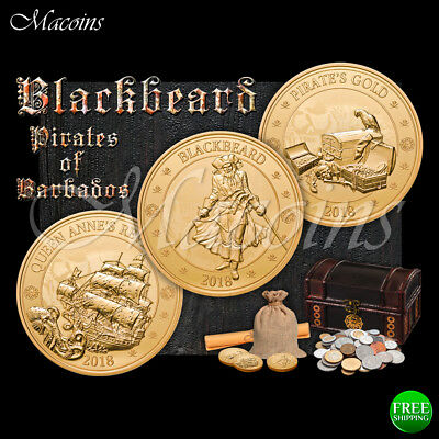 Blackbeard Pirates Of Barbados 2018 Barbados 3 Gold Plated Coin Set