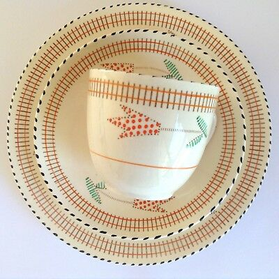 1930s Art Deco Hand Painted BURLEIGH WARE 'Balmoral' Trio Cup Saucer Plate