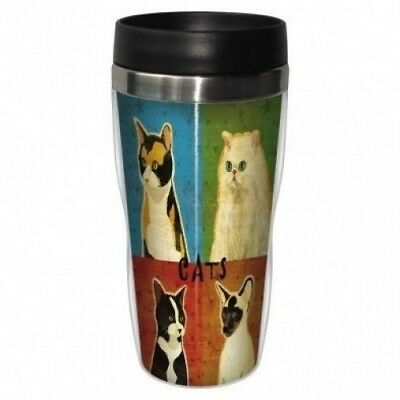 Tree Free Mug 47cl (470ml) Travel Tumbler Cat Pop Art. Free Delivery
