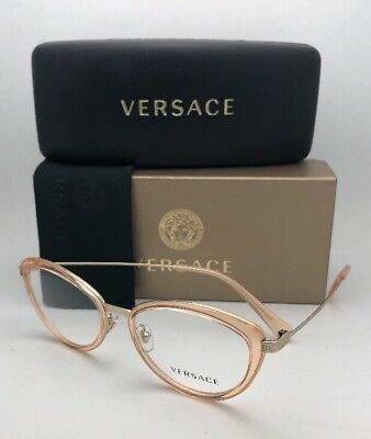 dfbc0e878edd NEW VERSACE EYEGLASSES MOD.1244 1406 53-17 140 Coral and Gold Cat ...