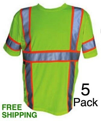*5 Pack* 3M ANSI/ISEA Class 3 Reflective Safety Short Sleeve Hi-Vis ALL SIZES