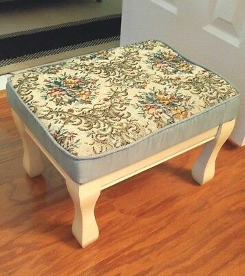 Vintage  Victorian Foot Stool Rest Antique Tapestry Ottoman Floral Small
